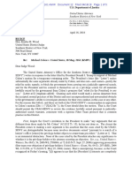Michael Cohen v. USA - DOJ Response to Trump Letter for Injunction Against Gov't Review of Seized Records 4-16-2018