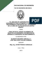 TESIS_El análisis de confiabilidad como herramienta para optimizar la gestión del mantenimiento preventivo de los equipos de la línea de flotación en un centro minero.pdf