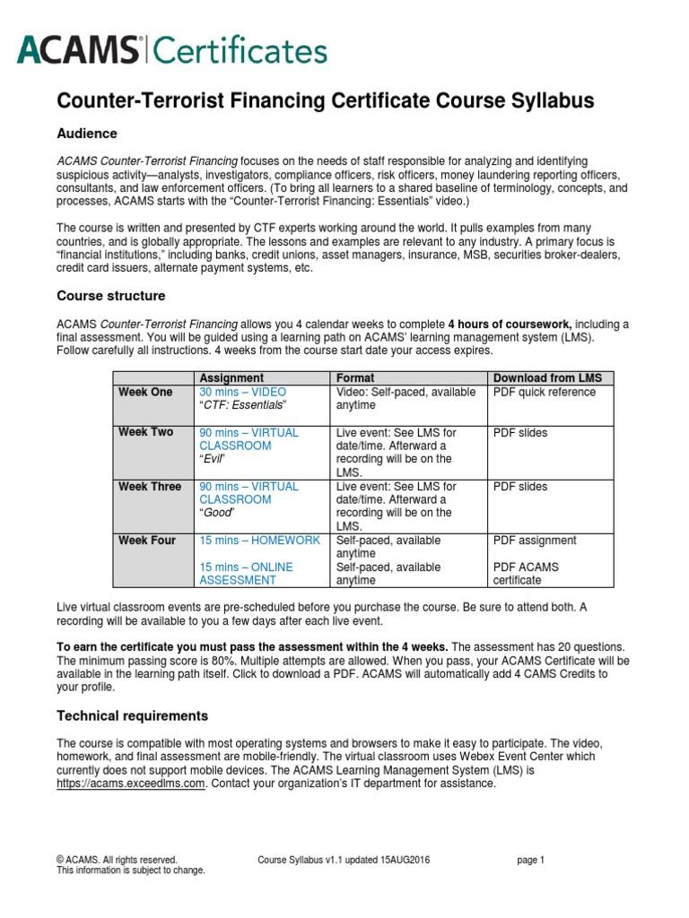 ACAMS CTF Course Syllabus | Situation Awareness | Terrorism