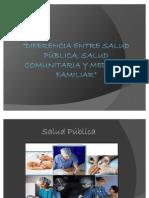 Diferencia entre Salud Pública, Salud Comunitaria y Salud Familiar