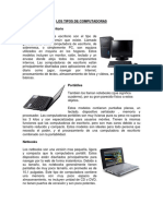Tipos de Computadoras, Tipos de Sistema Operativo, Tipos de Programas, Tipos de Redes, Tipos de Impresoras.