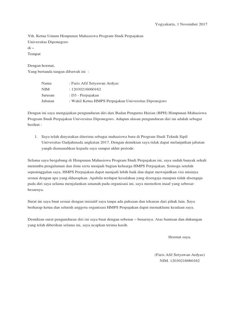 Contoh Surat Pengunduran Diri Dari Jabatan Ketua ...