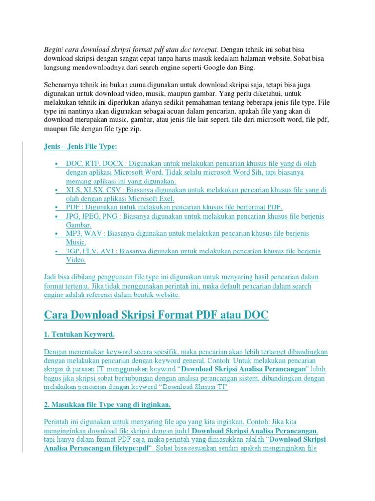 Cara Download Skripsi Format Pdf Atau Doc