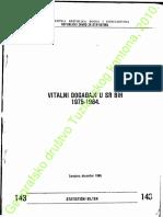 BILTEN 143 Vitalni Dogadjaji u SR BiH 1975-1984.