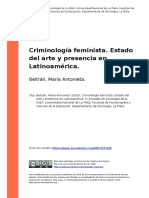 Beltran, Maria Antonieta (2010). Criminologia Feminista. Estado Del Arte y Presencia en Latinoamerica