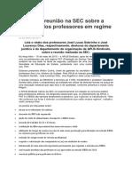 Relato Da Reunião Na SEC Sobre a Situação Dos Professores Em Regime PST