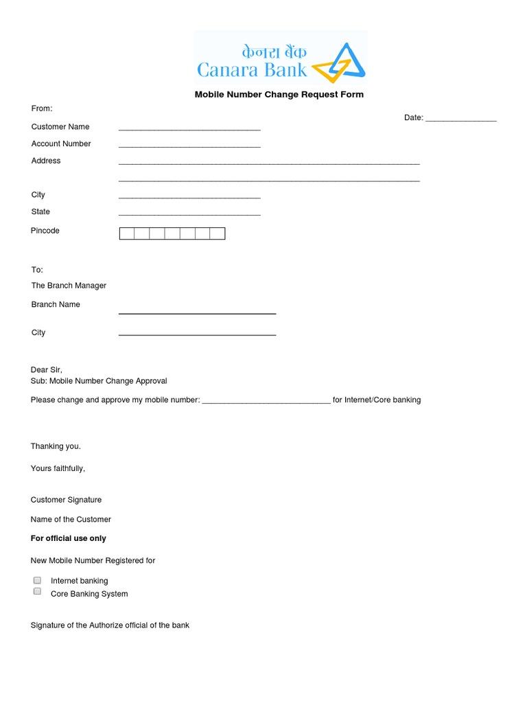 canara bank mobile number change application form