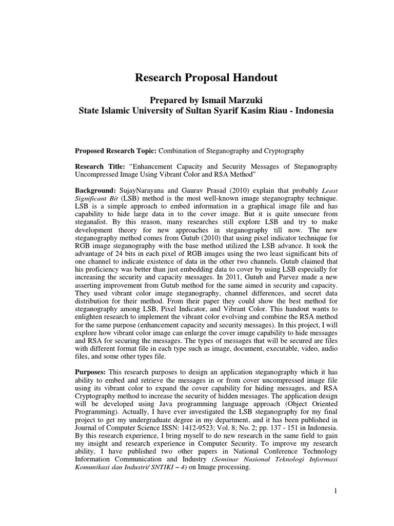 Research Proposal Handout | Cryptography | Areas Of Computer Science