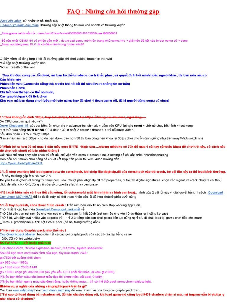 Bản Chính FAQ Zelda BOTW
