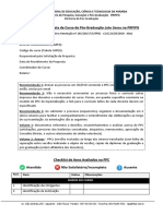 Checklist  Avaliação de Propostas de Cursos Lato Sensu (Especialização)