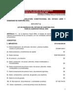 Ley Ingresos Edo Qroo Ejerc Fisc 2008