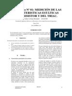 Medición de Las Características Estáticas Del Tiristor y Del Triac