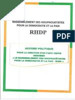 Accord Politique pour la création du RHDP