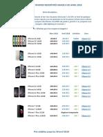Tarif Avril 2018 - iPhones Recertifiés Grade A