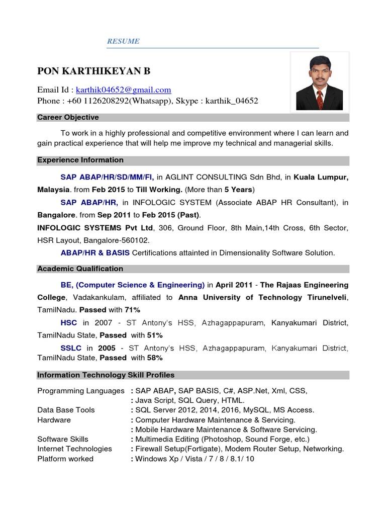 Abap Exp Resume Malaysia 16092017-Copy | Databases | Information ...