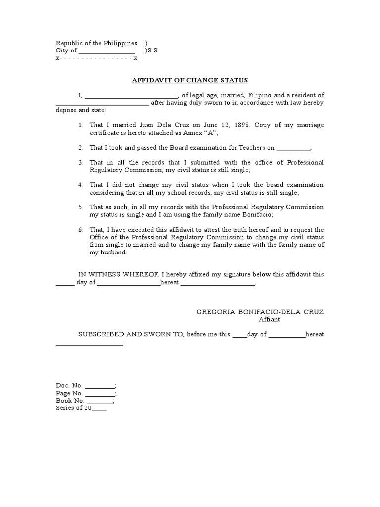 Affidavit of Change Status