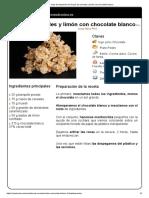 Hoja de Impresión de Rocas de Cereales y Limón Con Chocolate Blanco