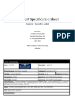 Garment specification sheet