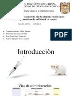 Practica N° 4  Influencia de la vía de administración en los niveles plasmáticos de sulfatiazol en la rata