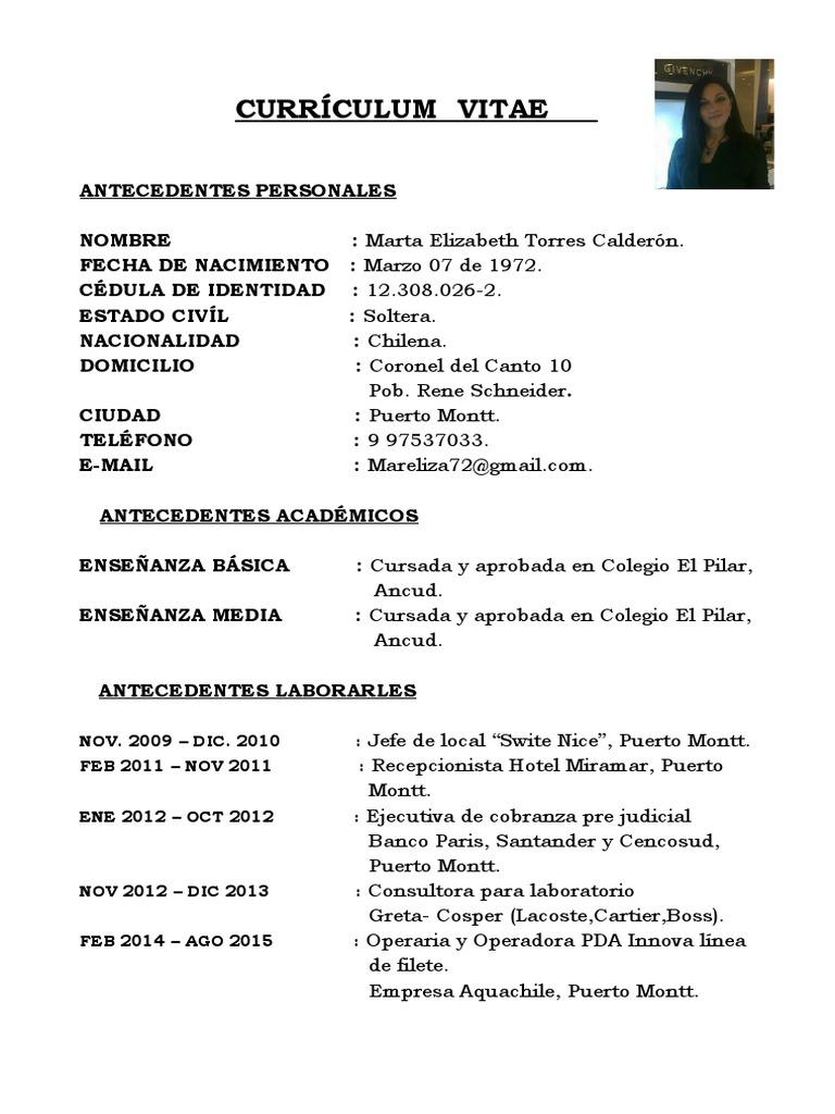 Curriculum Marta Torres Con Foto