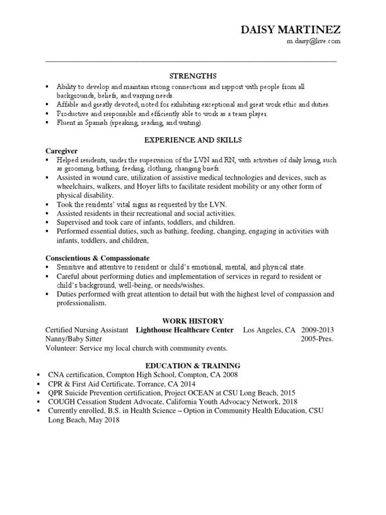 Resume Copy For Eportfolio Health Care Public Health