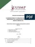 Proyecto de Investigación - Maestría Gestión Publica