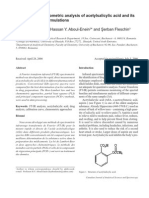 FT-IR Spectrophotometric analysis of acetylsalicylic acid and its pharmaceutical formulations.