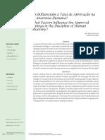 Quais Fatores Influenciam a Taxa de Aprovação Na Disciplina de Anatomia Humana