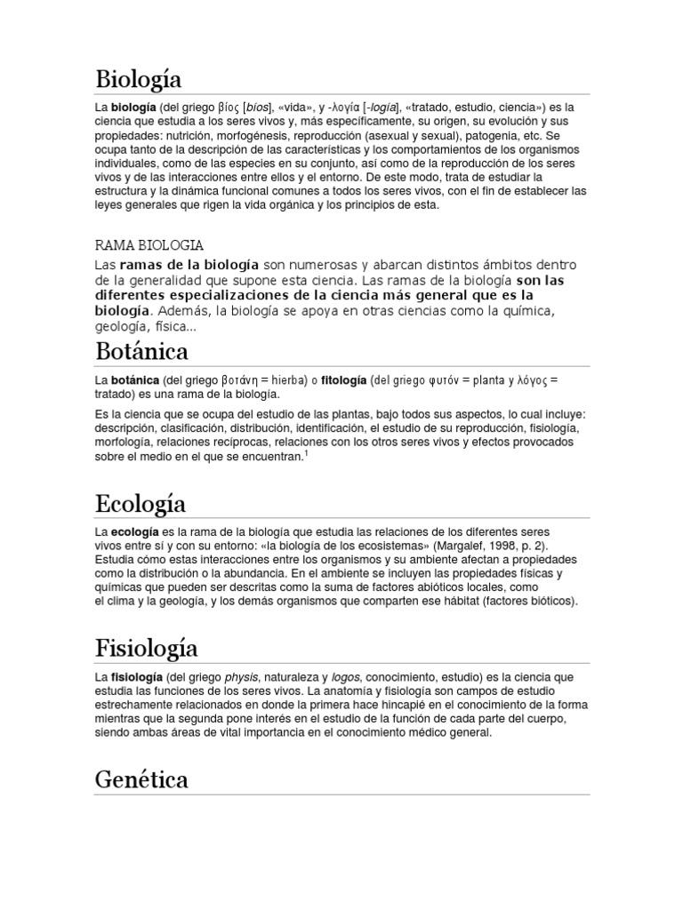 Biología, Aracnologia y Monton Mas