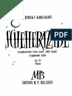 Scheherazade (Suite Symphonique) - Reduction for 1 Piano