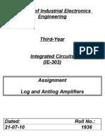 Log and Antilog Amplifiers