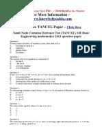 TANCET Basic Engineering Maths 2013