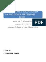 TT, VAT AND OPT-2013