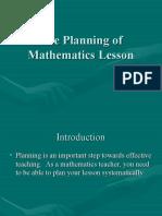 3 the Planning of Mathematics Lesson