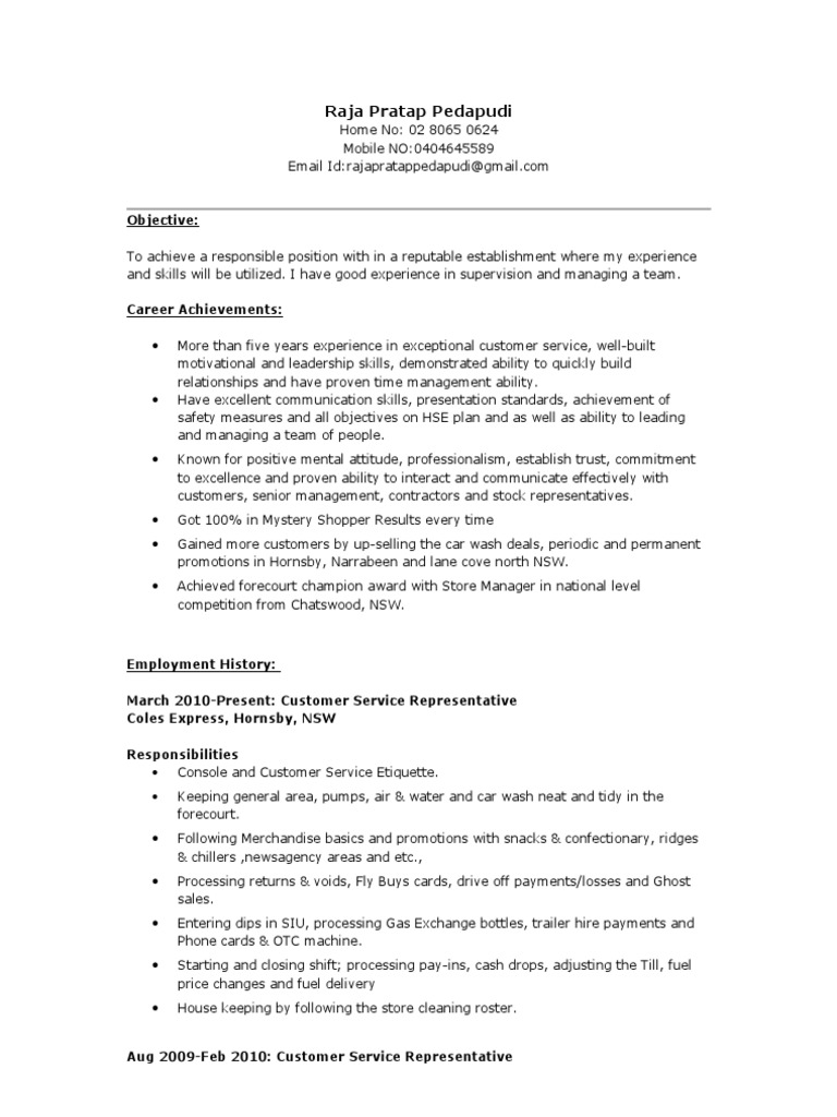 Coles Express Resume (2) | Sales | Stocks