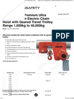 Ultra Low Headroom Electric Chain Hoist With Geared Travel Trolley. Range 1,000kg to 40,000kg