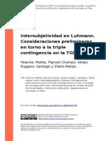 Palacios, Matias, Pignuoli Ocampo, Se (..) (2010). Intersubjetividad en Luhmann. Consideraciones Preliminares en Torno a La Triple Contin (..)