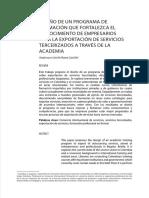 Diseño Programa de Formación para Exportación de Servicios