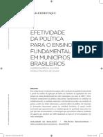 GOUVEIA, Andrea Barbosa; SOUZA, Angelo Ricardo de. Efetividade Da Política Para o Ensino Fundamental Em Municípios Brasileiros