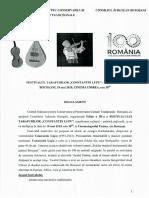 Regulamentul Festivalului Tarafurilor ,,Constantin Lupu'', Ediţia a III-a, 18 Mai 2018