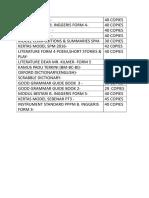 List Buku English