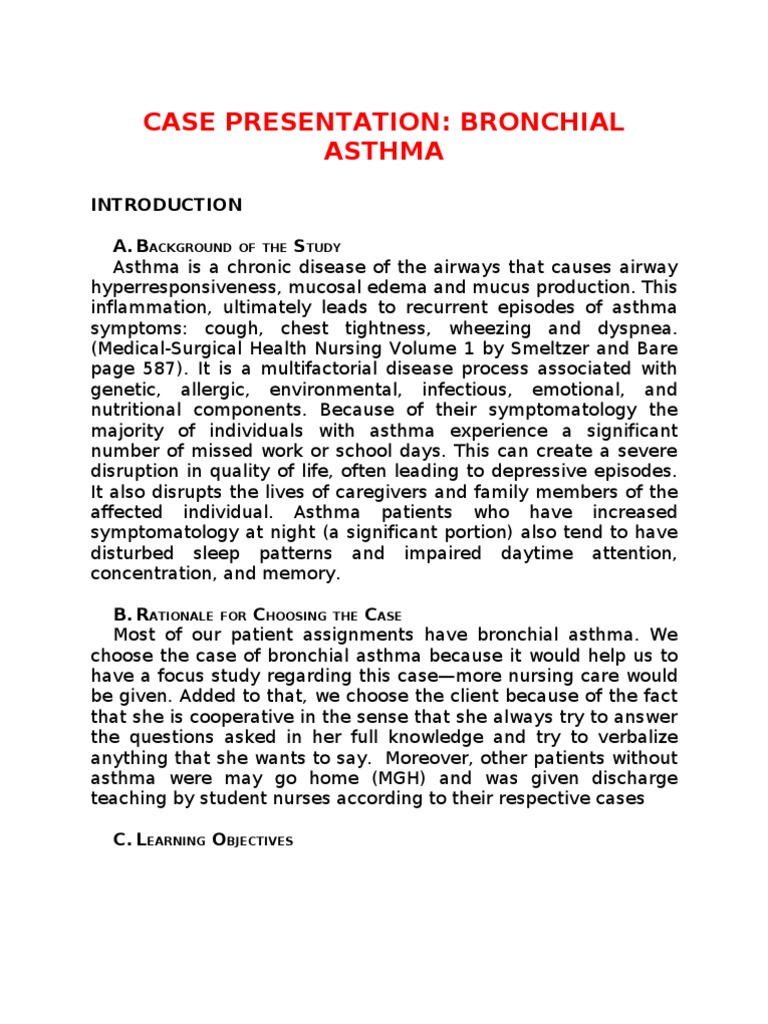 acute asthma case studies Pediatric asthma risk scores according to the canadian pediatric society guidelines for managing the patient with acute asthma 3 mixed studies a limited case.