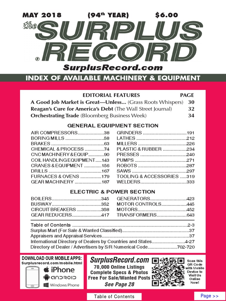 may 2018 surplus record machinery equipment directory drill