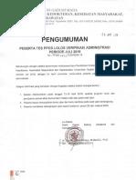 Pengumuman Tes Ppds Verifikasi Administrasi Periode Juli 2018
