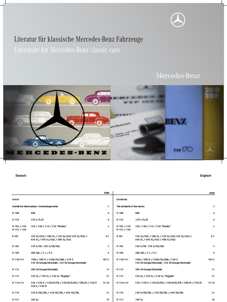 Literaturkatalog 2010 Wiring Diagram Mercedes W113