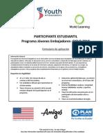 Ecuador Inbound Student Application FINAL