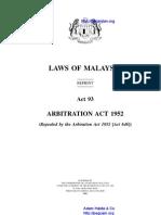 Act 93 Arbitration Act 1952
