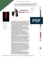 La Evolución Del Lenguaje Humano - Revista Ciencias