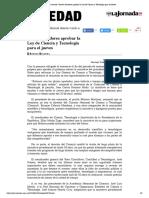 La Jornada_ Prevén senadores aprobar la Ley de Ciencia y Tecnología para el jueves