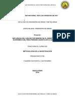 """""""INFLUENCIA DEL SUB-SECTOR MINERO EN EL BENEFICIO SOCIAL Y ECONOMICO DEL PERU PERIODO AGOSTO-2015 A AGOSTO-2016"""""""